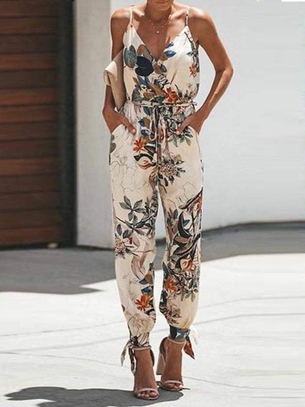 Floral printed V Neck Spaghetti Strap Jumpsuit - Luckinchic - LuckinChic.com