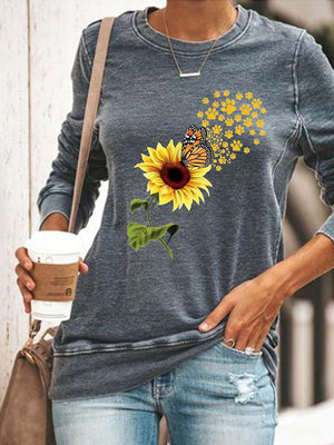 Casual Round Neck Sunflower Print Long Sleeve T-Shirt Top - Luckinchic