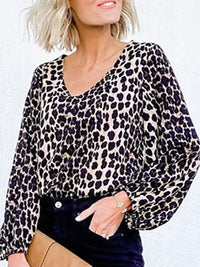 Casual V Neck Lantern Sleeve Leopard Printed Shirt Top - Luckinchic