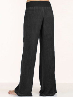 Casual Solid Color Wide Leg Pants - Luckinchic