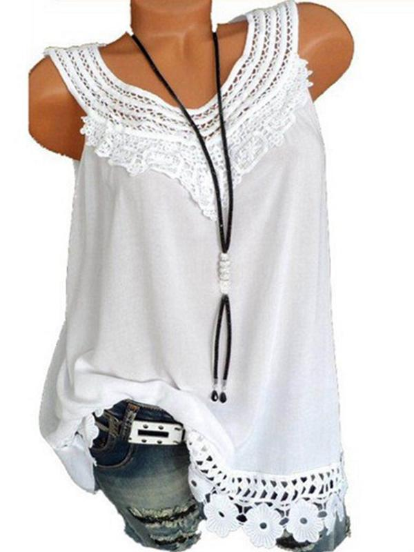 Solid Casual Camisole Neckline Sleeveless Blouses - Luckinchic - LuckinChic.com
