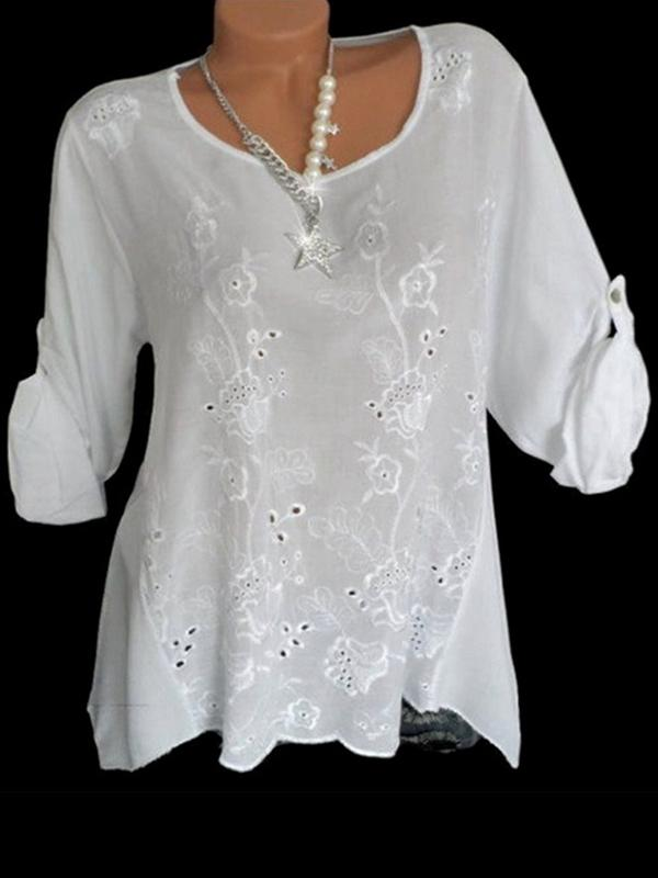Long Sleeve Embroidered Plus Size Blouse