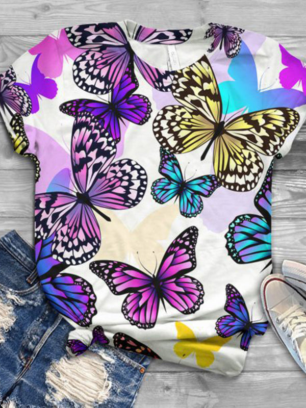 Casual Round Neck Butterfly Print Short Sleeve T-Shirt - Luckinchic