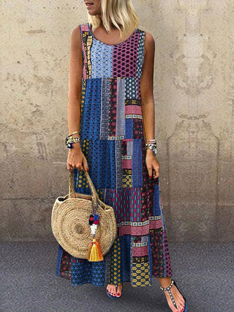 Crew Neck Shift Printed Patchwork Maxi Dresses