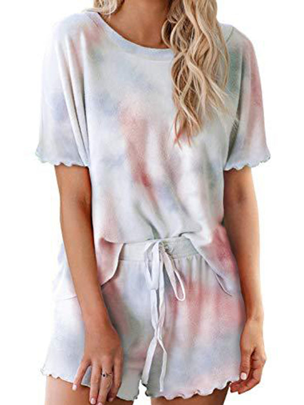 Tie-Dye Printed Casual Sport Shorts With Short Sleeves Suit - Luckinchic