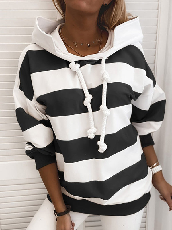 Casual Long Sleeve Loose Striped Hoodie Top - Luckinchic