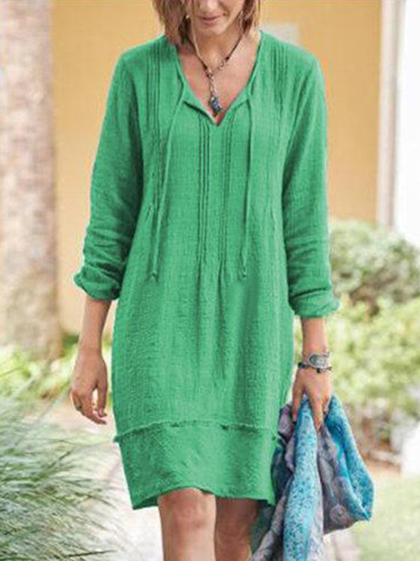 Casual V Neck Mid-Length Long Sleeve Solid Color Dress - Luckinchic