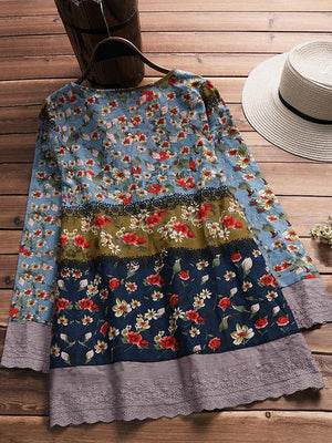 Floral 3/4 Sleeves Mini Shift Dress