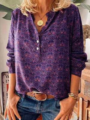 Casual V Neck Button Up Printed Long Sleeve Blouse - Luckinchic