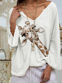 Casual V Neck Giraffe Printed Long Sleeve T-Shirt Tops - Luckinchic