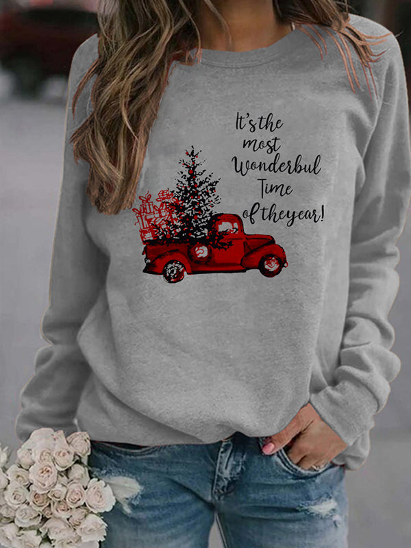 Casual Round Letter Graphic Print Long Sleeve Pullover Sweatshirt Top - Luckinchic