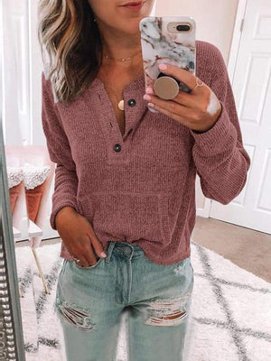 Casual Solid Round Neck Long Sleeve Blouse - Luckinchic - LuckinChic.com
