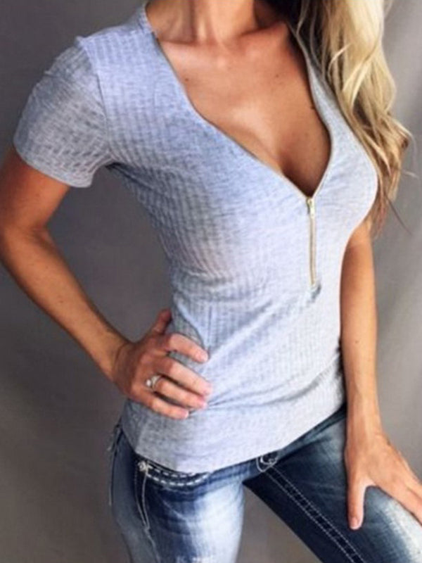 Sexy V Neckline Short Sleeve T Shirts - LuckinChic.com