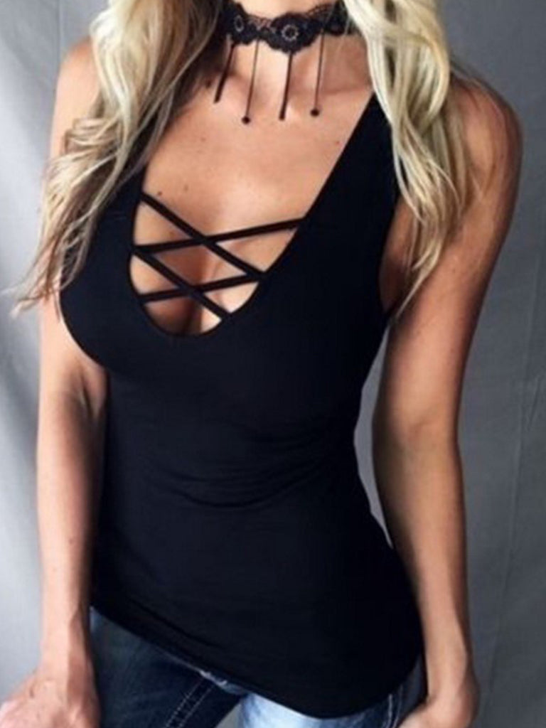 Round Neck Lace Up Plain Vest Top