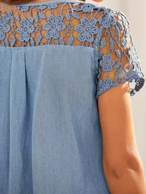 Casual Solid Lace Patchwork Denim Short Sleeve A Line Dress - Luckinchic