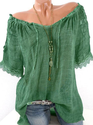 Clearance - Sexy Off The Shoulder Lace Sleeve Blouse - Luckinchic