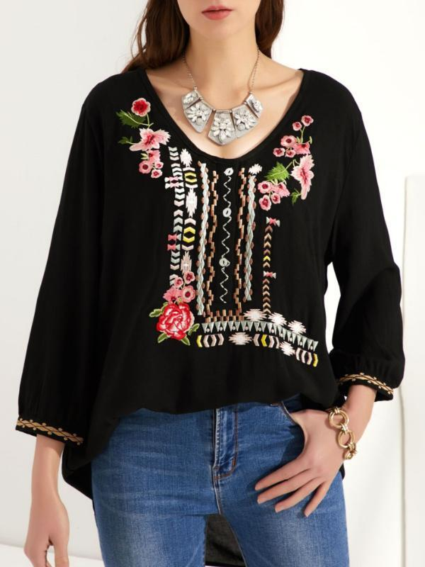 Plus Size Embroidered Bohemian Floral Casual V-Neckline 3/4 Sleeves Peasant Blouses - Luckinchic - LuckinChic.com