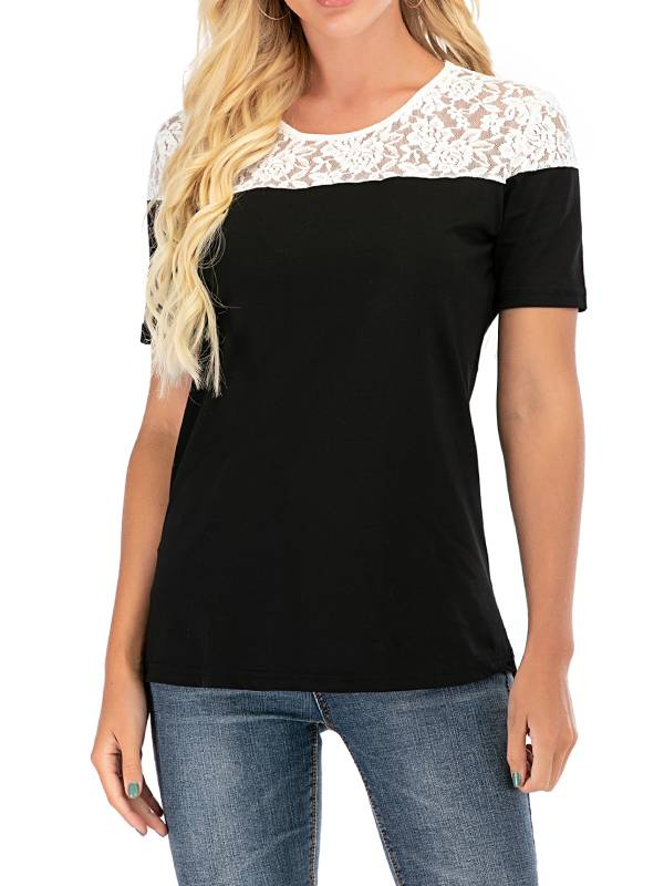 Short Sleeve Casual solid Lace Round Neck T-Shirts - Luckinchic