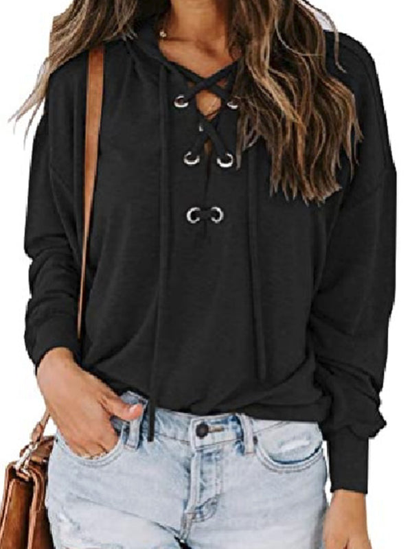 Casual Hooded Solid Color Hooded Long Sleeve T-Shirt Top - Luckinchic