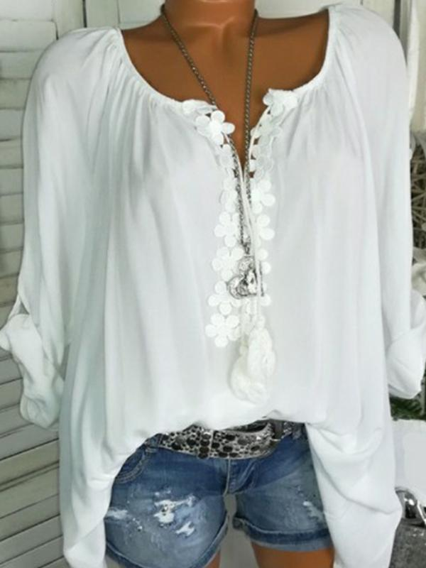 Solid Polyester V-Neckline Long Sleeve Blouses - LuckinChic.com
