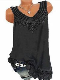 Clearance - Solid Casual Camisole Neckline Sleeveless Blouses - Luckinchic - LuckinChic.com