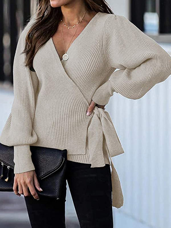 Casual V Neck Solid Color Sweater Loose Knit Cardigan Top - Luckinchic