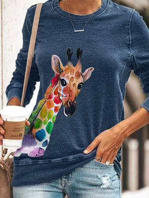 Casual Round Neck Color Giraffe Printed Long Sleeve Top - Luckinchic