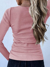 Casual V Neck Sexy Slim Long Sleeve T-Shirt Top - Luckinchic