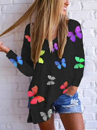 Casual V Neck Butterfly Print Long Sleeve Loose T-Shirt Top - Luckinchic