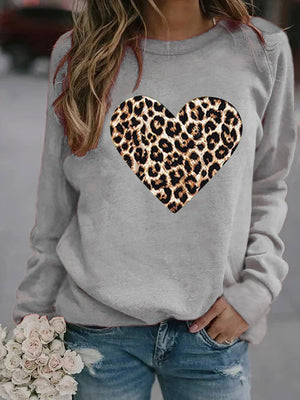 Casual Round Neck Loving Heart Print Long Sleeve Sweatshirt Pullover Top - Luckinchic