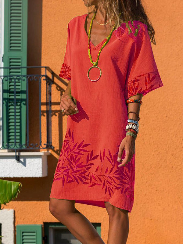 Casual V Neck Printed Short Sleeve Dress - Luckinchic
