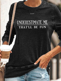 Casual Round Neck Letters Print Pullover Sweatshirt Long Sleeve Top - Luckinchic