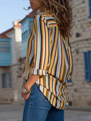 Casual V Neck Striped Long Sleeve Chiffon Shirt - Luckinchic