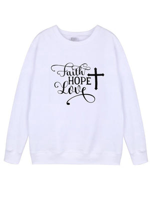 Casual Round Neck Letters Graphic Printed Sweatshirt Long Sleeve Pullover Shirt - Luckinchic