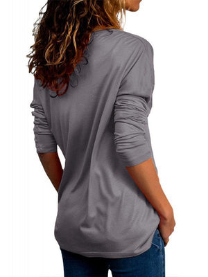 Casual V Neck Long Sleeve T Shirts