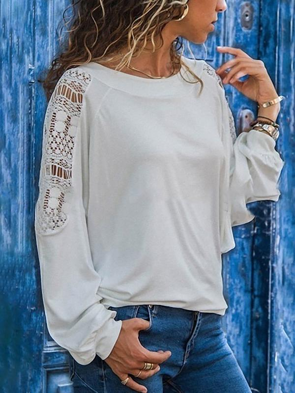 Clearance - Casual Lace Sleeve Crew Neck T Shirt - Luckinchic - LuckinChic.com