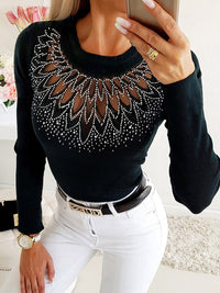 Hot Stamping Sheer Mesh Insert Long Sleeve Blouse - Luckinchic - LuckinChic.com