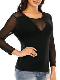 Sexy Round Neck Long Sleeve T Shirts - Luckinchic
