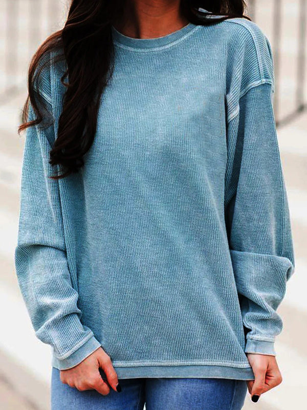 Casual Round Neck Loose Long Sleeve Solid Color Top - Luckinchic