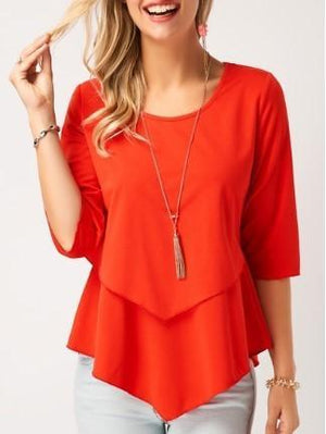 Casual Solid Round Neckline 3/4 Sleeves Blouses