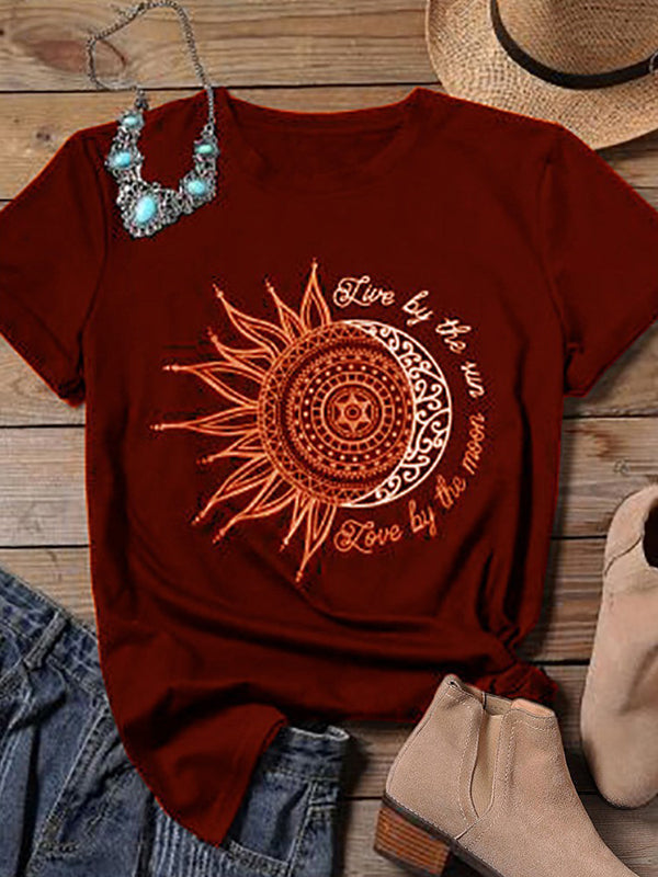 Casual Round Neck Sunflower Letters Print Short Sleeve T-Shirt - Luckinchic