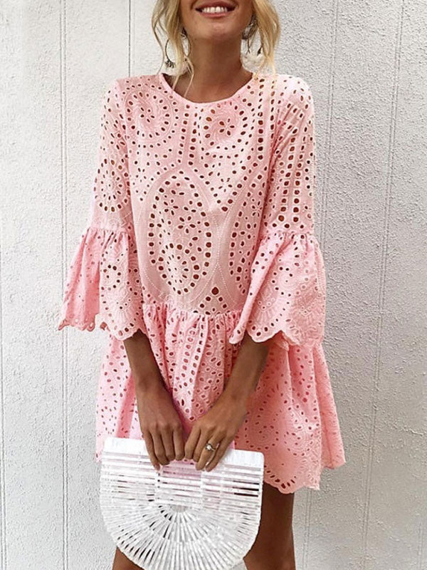 Solid Flare 3/4 Sleeve Round Neck Lace Dress