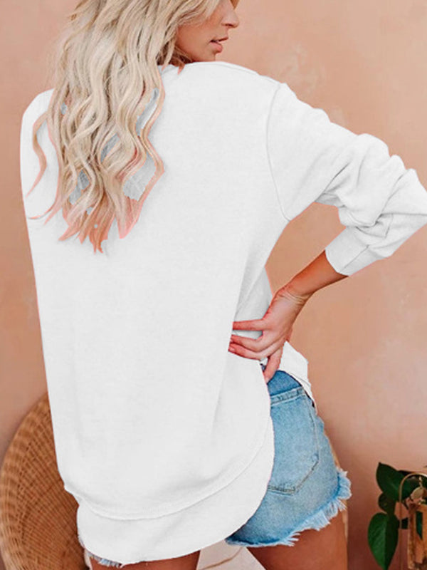 Casual Round Neck Solid Color Sweatshirt Long Sleeve Top - Luckinchic