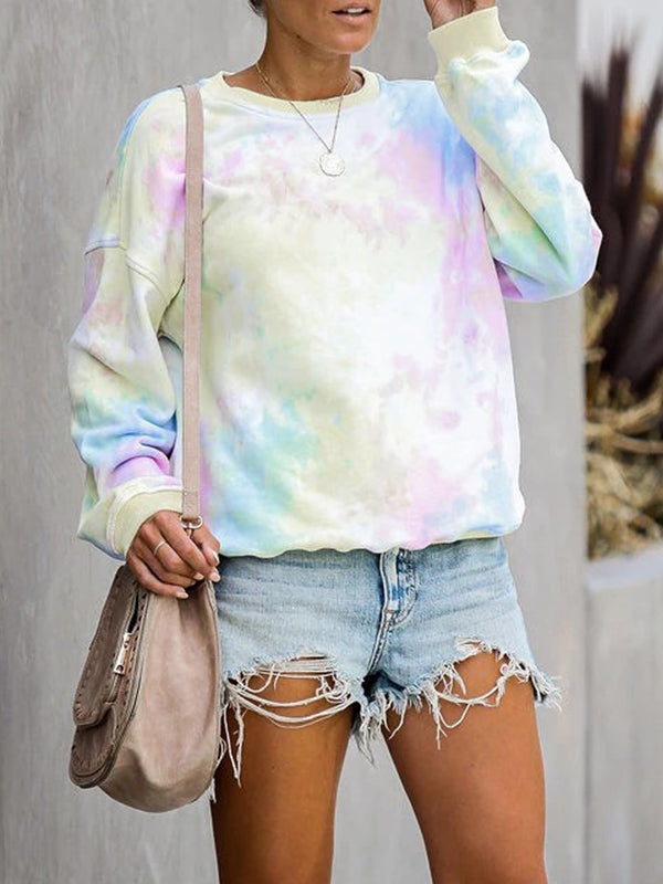 Casual Round Neck Tie Dye Printed Sweatshirt Long Sleeve Pullover Shirt - Luckinchic
