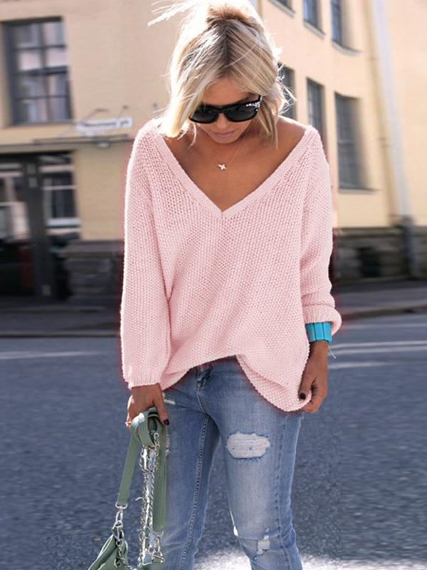 V Neckline Solid Loose Sweaters - Luckinchic - LuckinChic.com