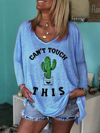 Casual Round Neck Cactus Print Long Sleeve Loose Top - Luckinchic
