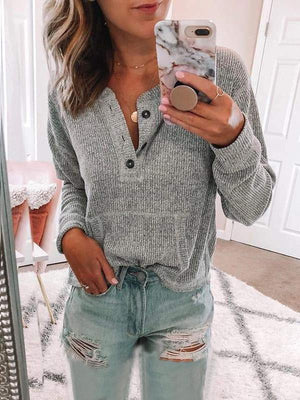 Casual Solid Round Neck Long Sleeve Blouse
