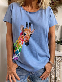 Summer Casual Round Neck Color Giraffe Printed Short Sleeve T-Shirt - Luckinchic