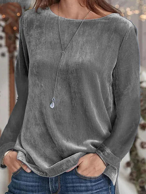 Casual Round Neck Solid Color Long Sleeve Pullover Sweatshirt Top - Luckinchic