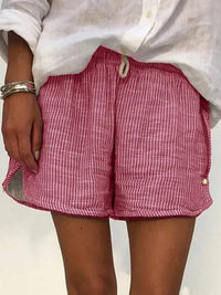 Summer Casual Striped Elastic Waist Short Pants - Luckinchic